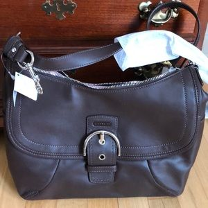 NWT Coach leather soho flap purse in brown